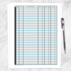 Printable Financial Transaction Register in Blue - Full Page, at Printable Planning