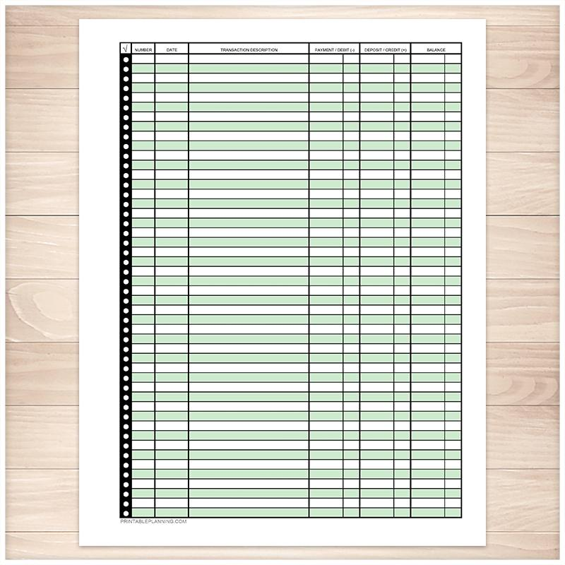 Financial Transaction Register in Green - Full Page - Printable