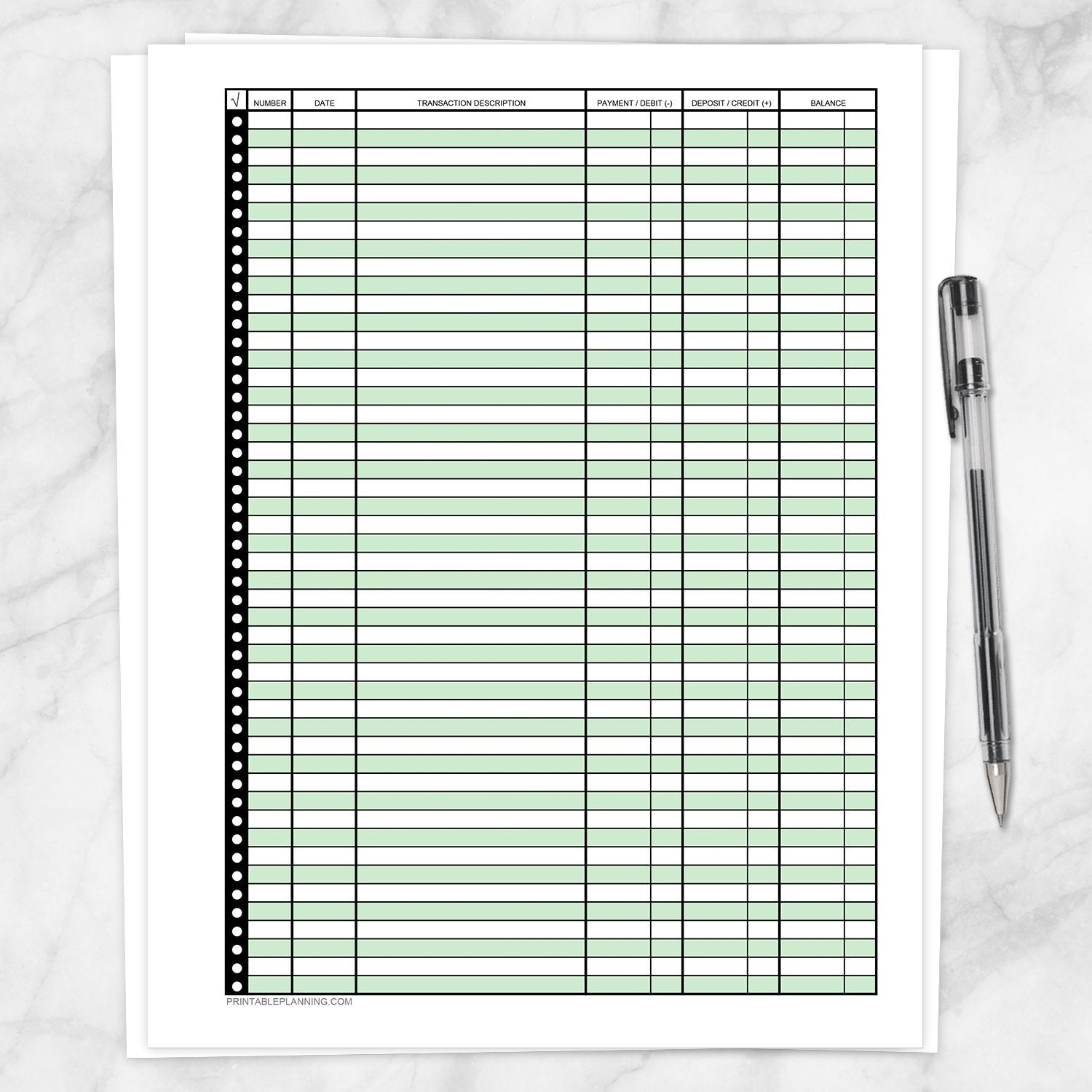 Printable Financial Transaction Register in Green - Full Page, at Printable Planning