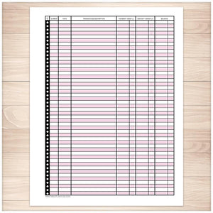 Financial Transaction Register in Pink - Full Page - Printable