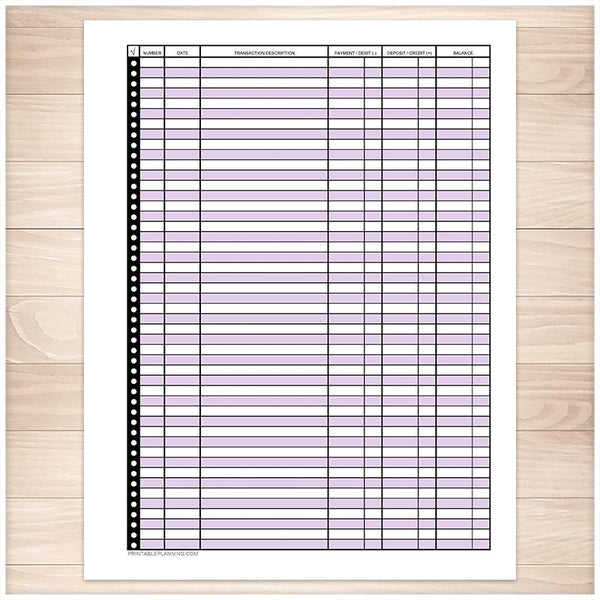 Financial Transaction Register in Purple - Full Page - Printable