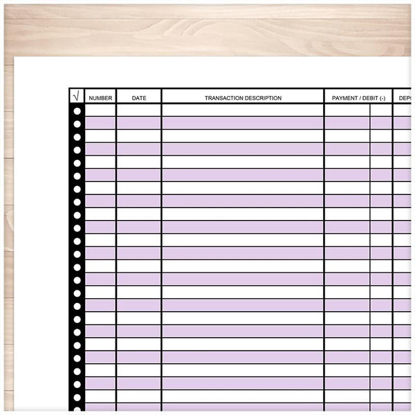 Financial Transaction Register in Purple - Full Page - Printable Planning