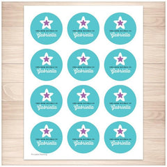 Turquoise Purple Star Personalized Bookplate Stickers - Printable Planning