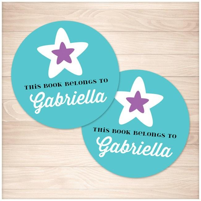 Turquoise Purple Star Personalized Bookplate Stickers 2up - Printable Planning