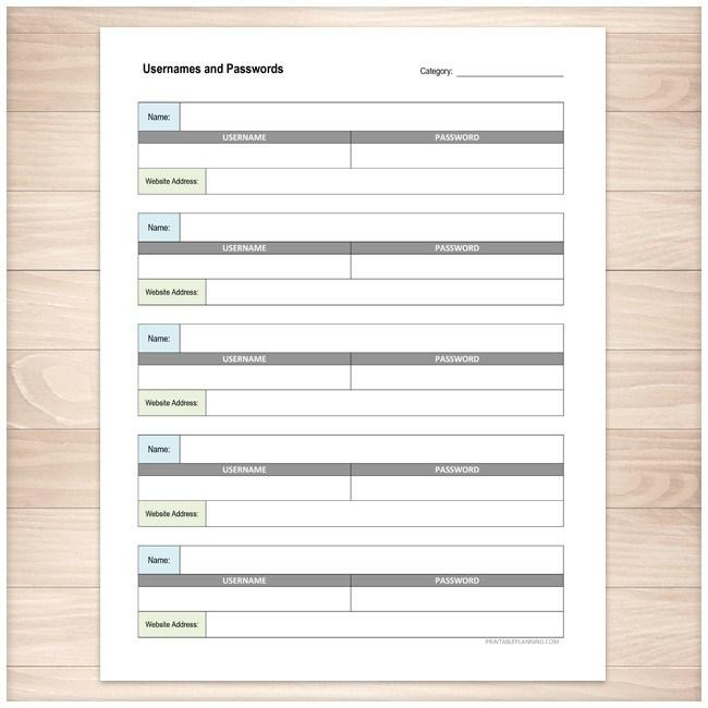 Website Usernames and Passwords Sheet Organizer - Printable Planning