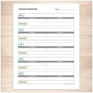 Website Usernames and Passwords Sheet Organizer - Printable, at Printable Planning