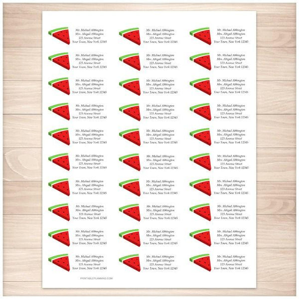 Watermelon Slice Personalized Address Labels 30up - Printable Planning