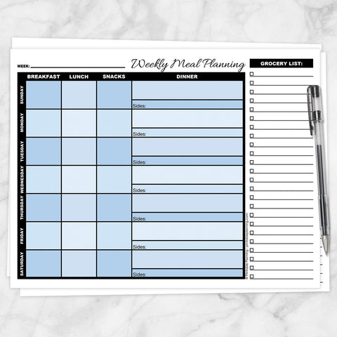 Printable Blue Weekly Meal Planning Page with Grocery List at Printable Planning