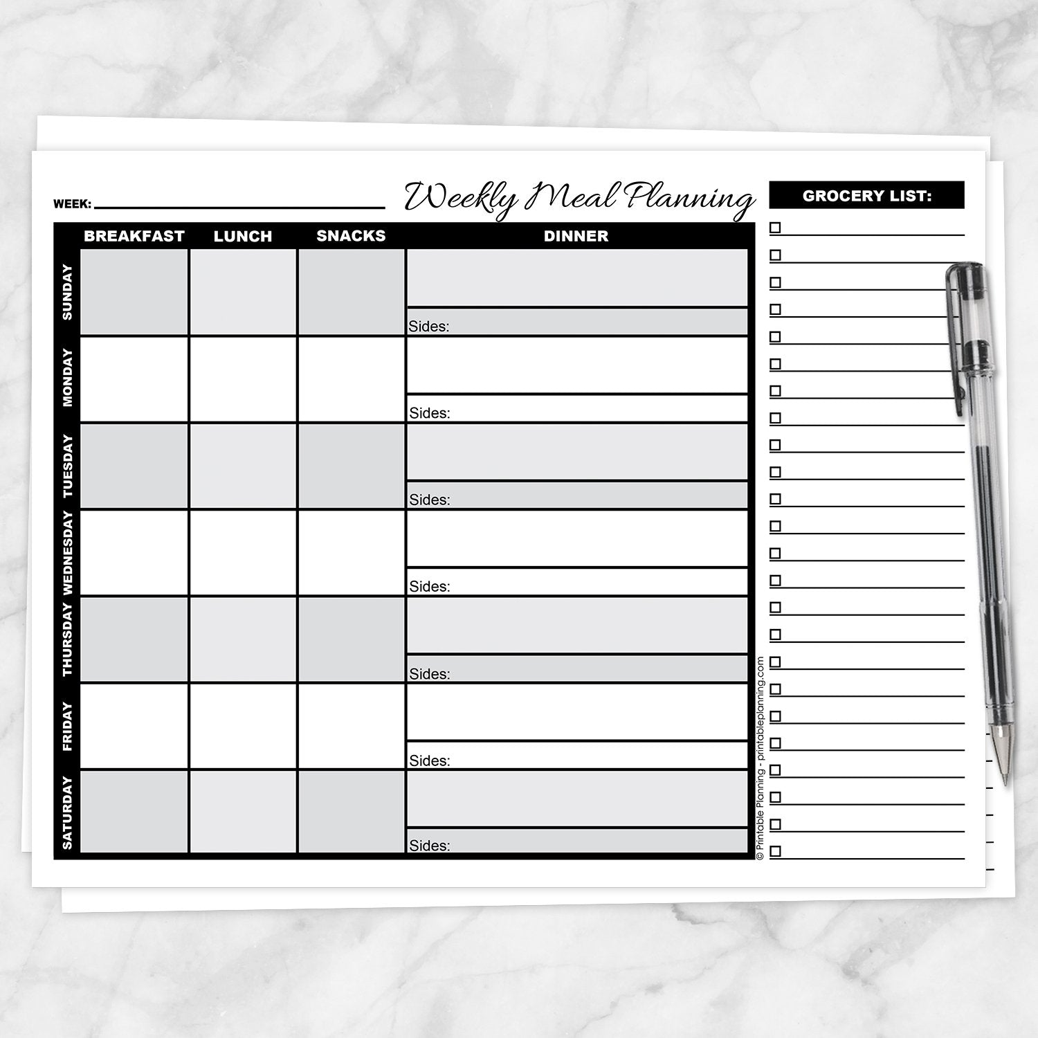 Printable Grayscale Weekly Meal Planning Page with Grocery List at Printable Planning