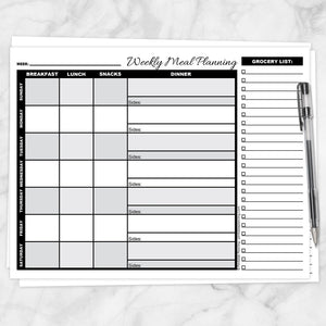 graphic regarding Printable Grayscale titled Grayscale Weekly Dinner Creating Web page with Grocery Checklist - Printable at Printable Building for just 5.00