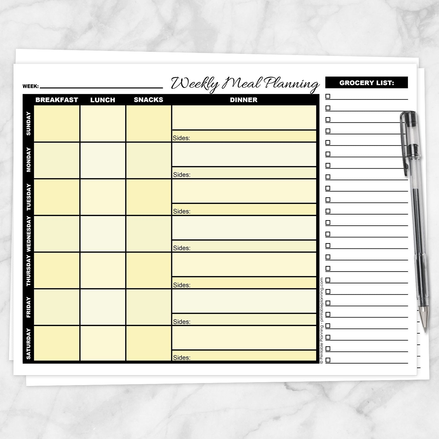 Printable Yellow Weekly Meal Planning Page with Grocery List at Printable Planning