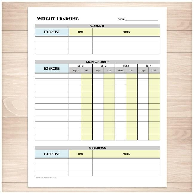 Weight Training Daily Log with Warm-up and Cool-down - Printable Planning