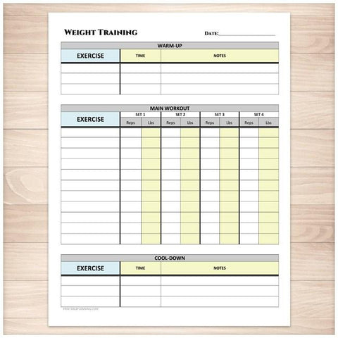 Weight Training Daily Log with Warm-up and Cool-down - Printable, at Printable Planning