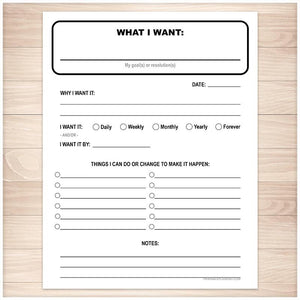 "Goals and Resolutions Page - ""What I Want"" - Printable, at Printable Planning"