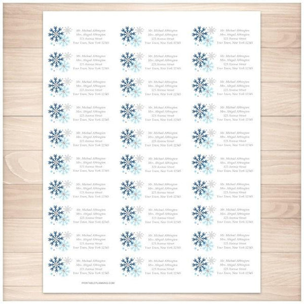 Winter Blue Gray Snowflake Address Labels 30up - Printable Planning