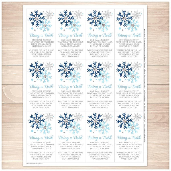 Winter Blue Silver Snowflake Bring a Book Cards - Printable, at Printable Planning