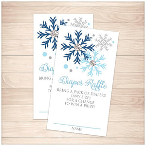 Winter Blue Silver Snowflake Diaper Raffle Cards - Printable, at Printable Planning