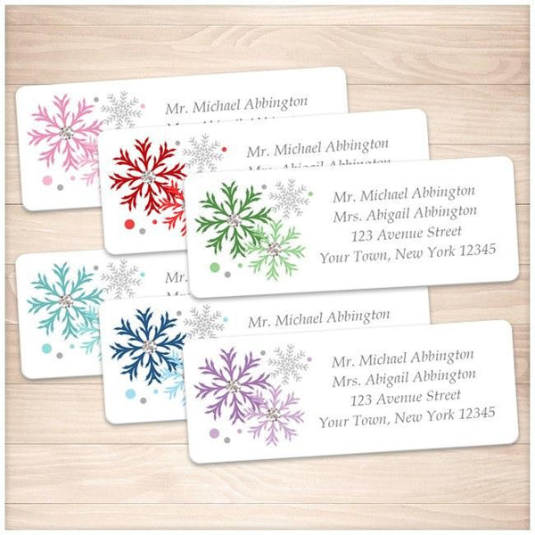 winter colorful snowflake address labels