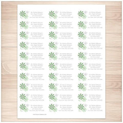 Winter Green Gray Snowflake Address Labels 30up - Printable Planning