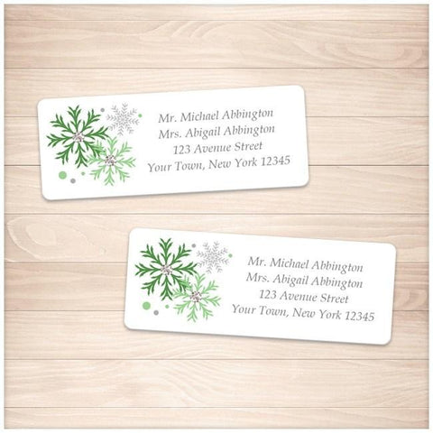 Winter Green Gray Snowflake Address Labels - Printable Planning