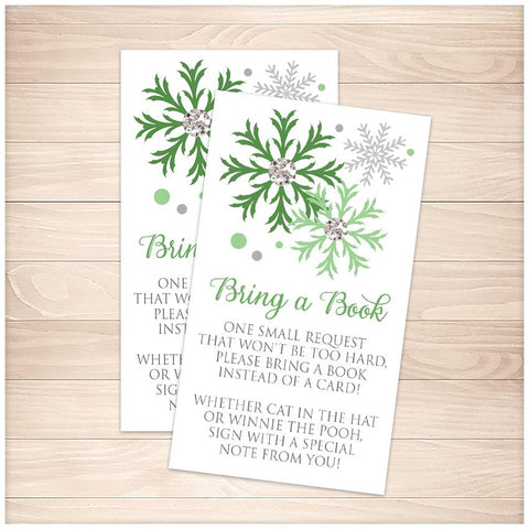 Winter Green Silver Snowflake Bring a Book Cards - Printable, at Printable Planning