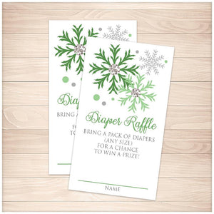 Winter Green Silver Snowflake Diaper Raffle Cards - Printable, at Printable Planning