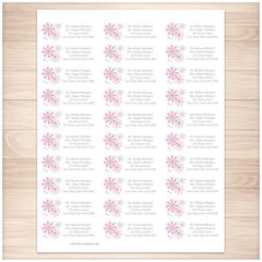 Winter Pink Gray Snowflake Address Labels 30up - Printable Planning