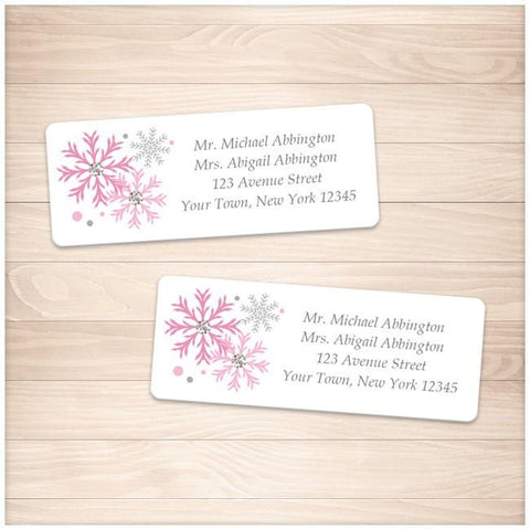 Winter Pink Gray Snowflake Address Labels - Printable Planning