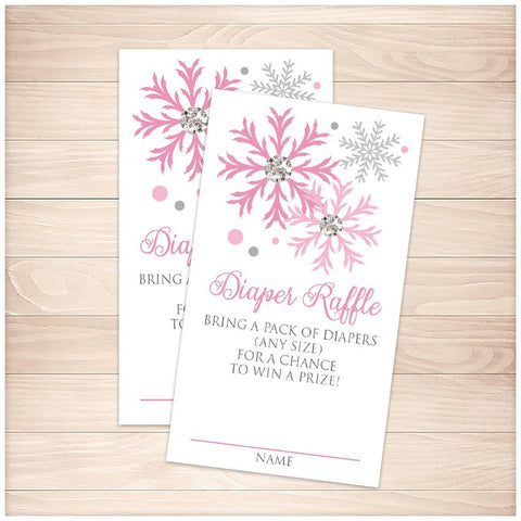Winter Pink Silver Snowflake Diaper Raffle Cards - Printable, at Printable Planning