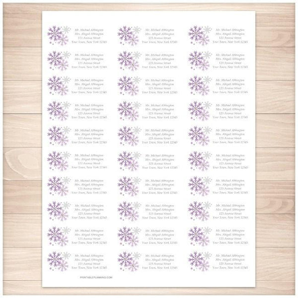 Winter Purple Gray Snowflake Address Labels 30up - Printable Planning