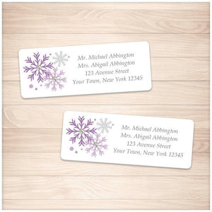 Winter Purple Gray Snowflake Address Labels - Printable Planning