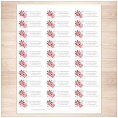 Winter Red Gray Snowflake Address Labels 30up - Printable Planning