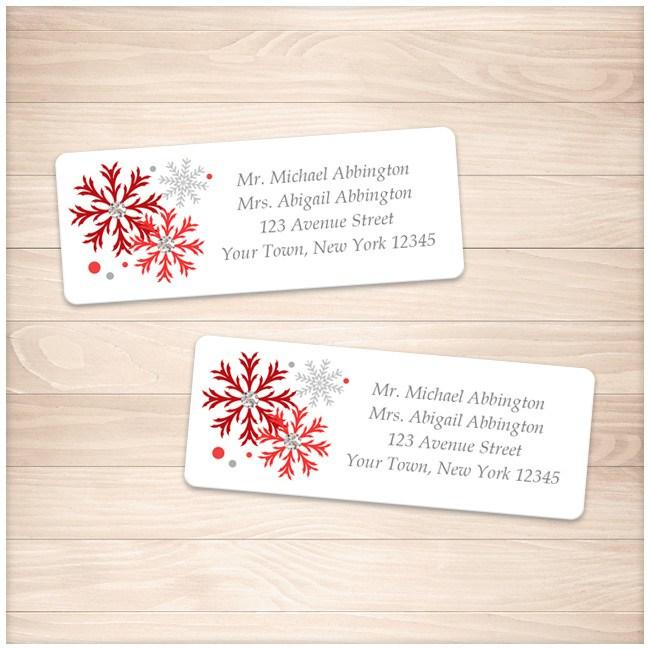 Winter Red Gray Snowflake Address Labels - Printable Planning