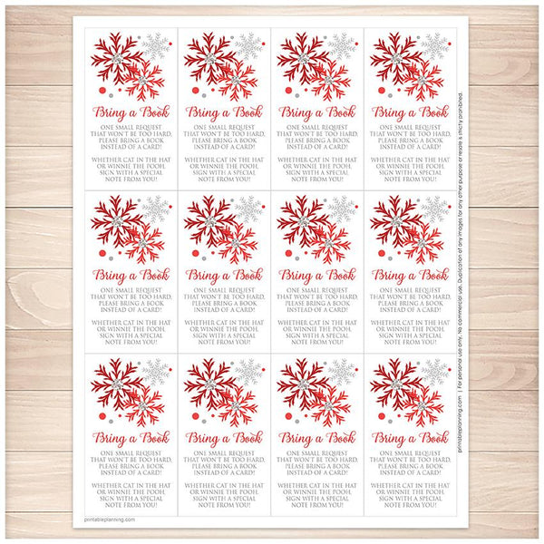 Winter Red Silver Snowflake Bring a Book Cards - Printable, at Printable Planning