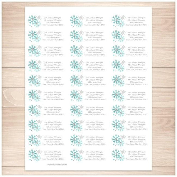 Winter Turquoise Gray Snowflake Address Labels 30up - Printable Planning