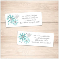 Winter Turquoise Gray Snowflake Address Labels - Printable Planning