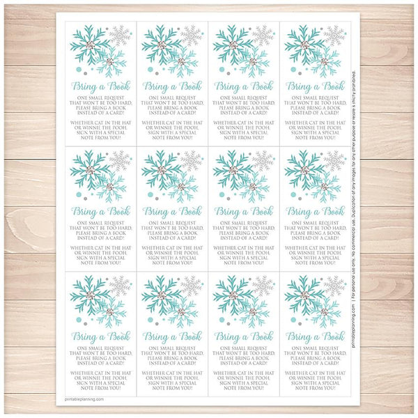 Winter Turquoise Silver Snowflake Bring a Book Cards - Printable, at Printable Planning