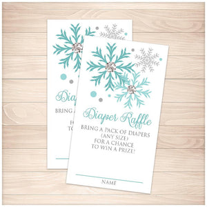 Winter Turquoise Silver Snowflake Diaper Raffle Cards - Printable, at Printable Planning
