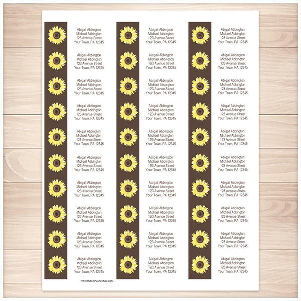 Yellow Sunflower on Brown Address Labels - Printable Planning