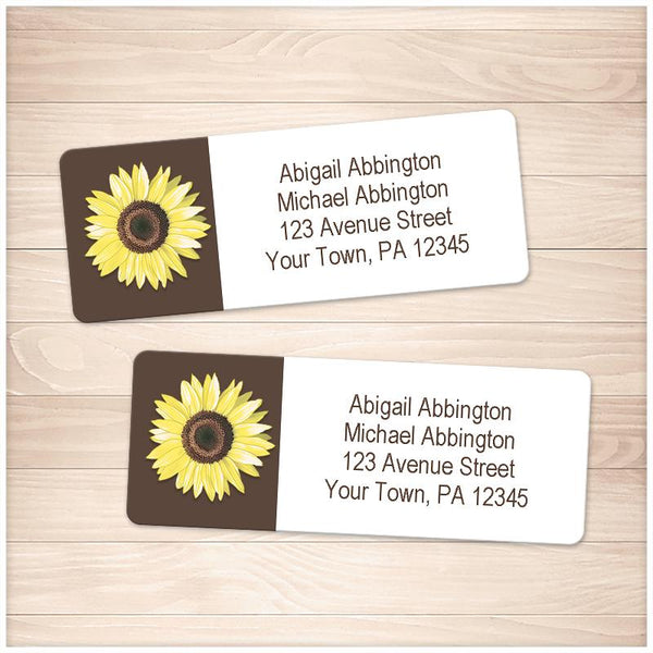 Yellow Sunflower on Brown Address Labels - Printable