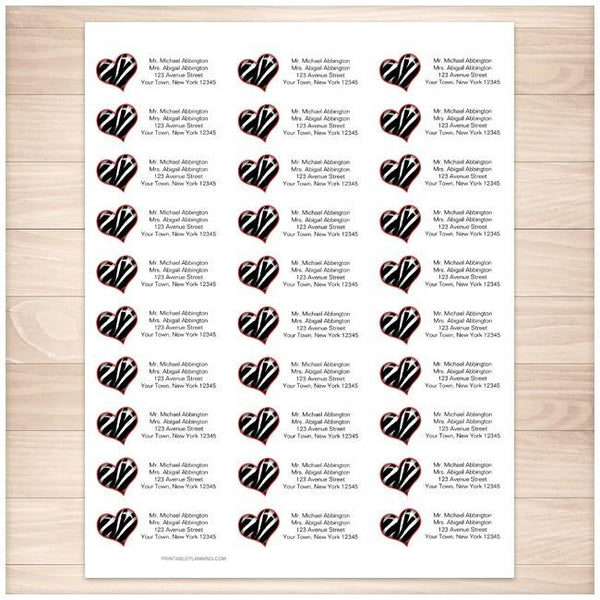 Zebra Print Heart Address Labels 30up - Printable Planning