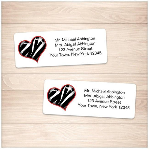 Zebra Print Heart Address Labels - Printable Planning
