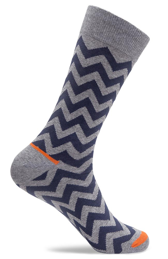 Mens Crazy Zag Stripe Dress Socks