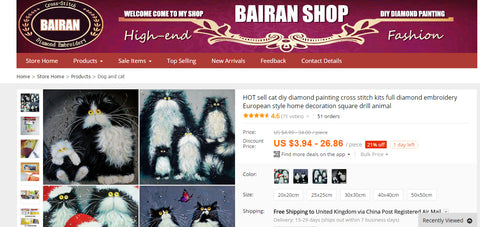 Alibaba cat art embroideries - images by Kim Haskins - Art Theft