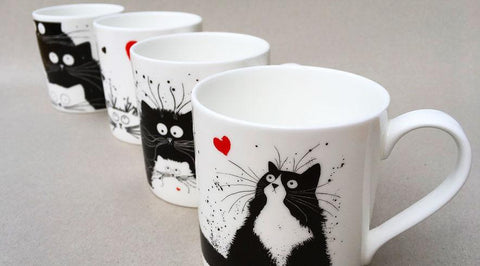 Cat mugs by Kim Haskins