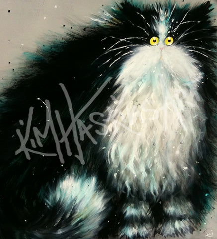 Big Gladys cat painting by Kim Haskins