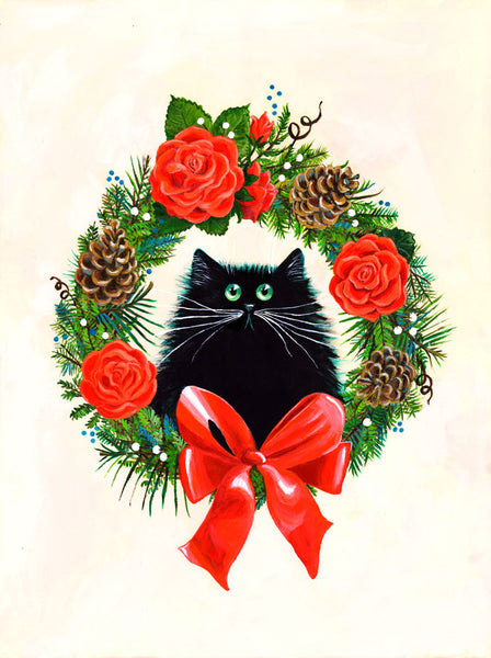 Black Cat in Rose Wreath