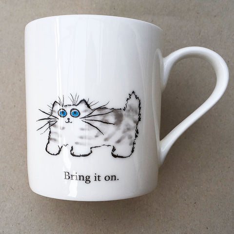 Bring It On cat mug by Kim Haskins