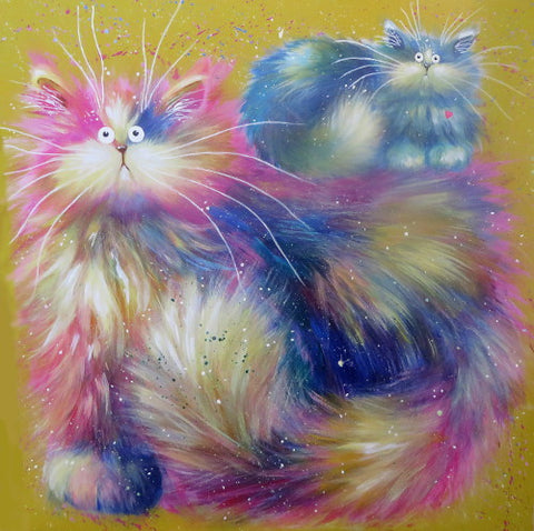 Cherry and Berry cat painting by Kim Haskins