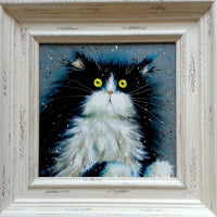 Framed cat painting